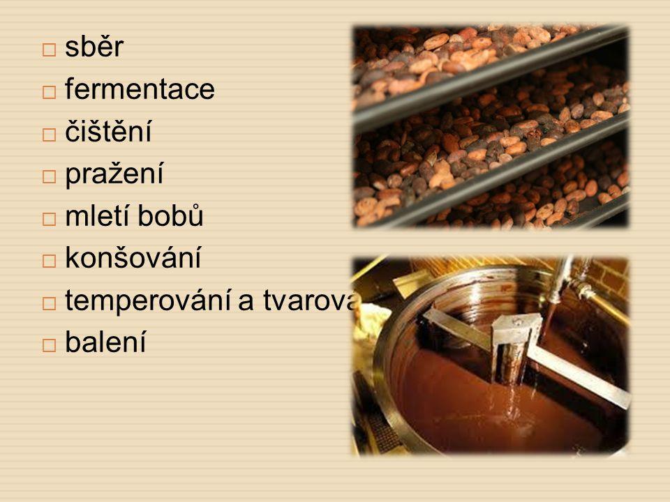 sběr fermentace čištění pražení mletí bobů konšování temperování a tvarování balení