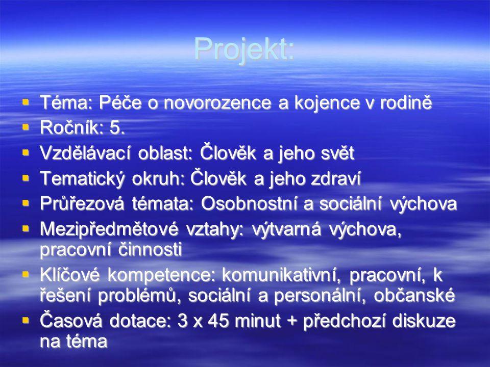 Projekt: Téma: Péče o novorozence a kojence v rodině Ročník: 5.