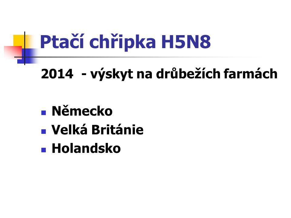 Ptačí chřipka H5N8 2014 - výskyt na drůbežích farmách Německo