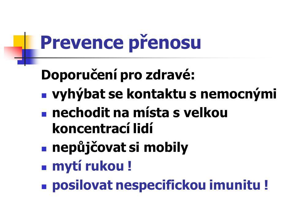 Prevence přenosu Doporučení pro zdravé: