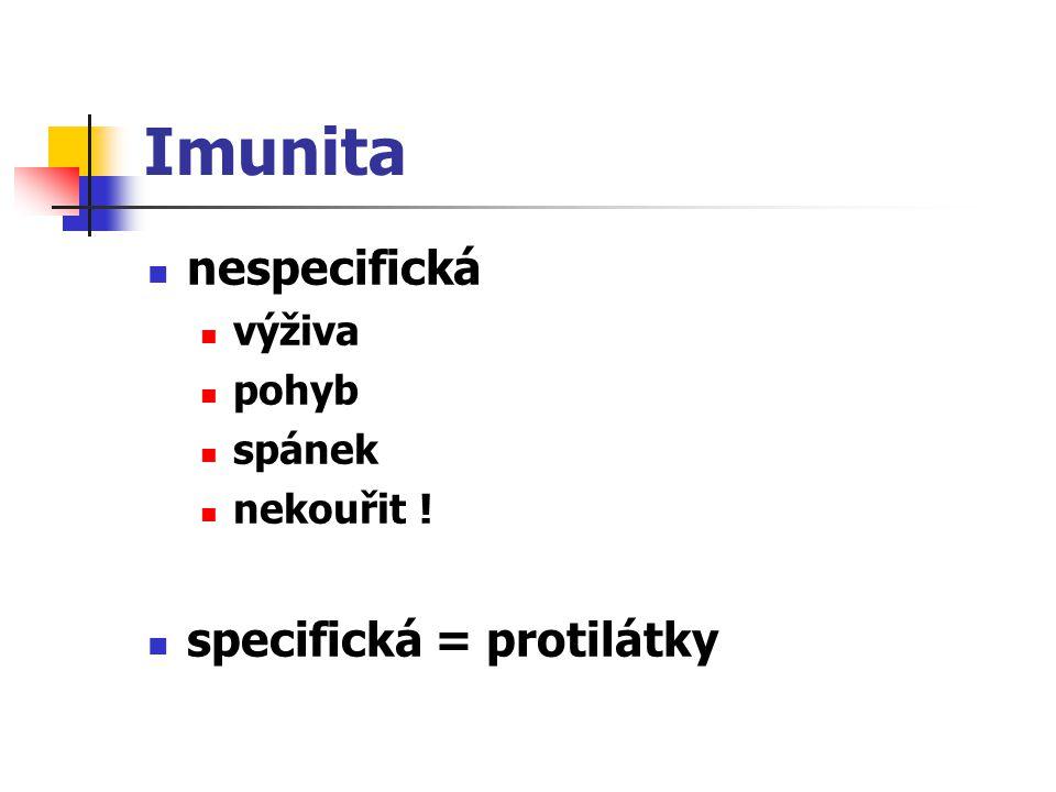 Imunita nespecifická specifická = protilátky výživa pohyb spánek