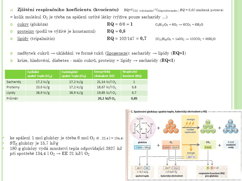 cukry (glukóza) RQ = 6/6 = 1 C6H12O6 + 6O2 → 6CO2 + 6H2O