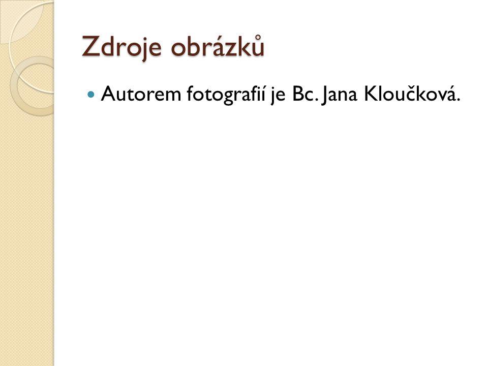 Zdroje obrázků Autorem fotografií je Bc. Jana Kloučková.