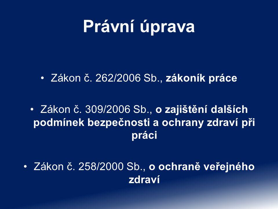 Právní úprava Zákon č. 262/2006 Sb., zákoník práce