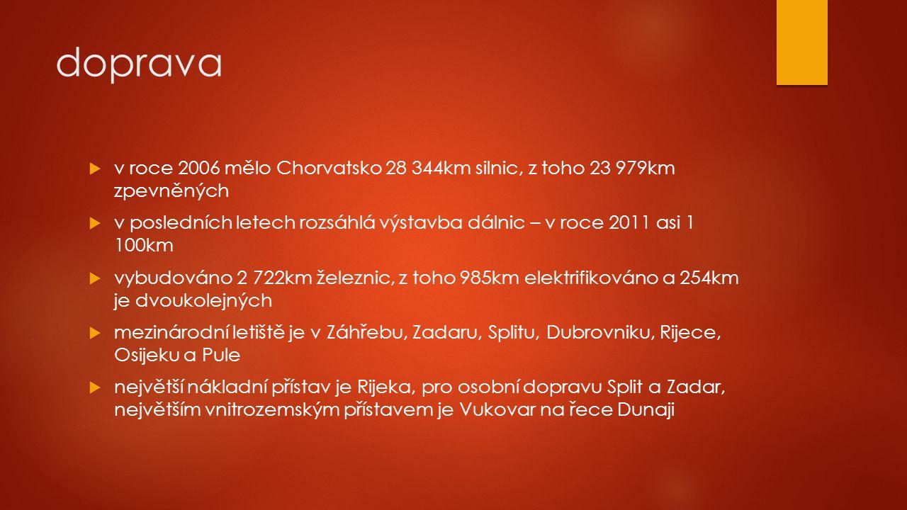 doprava v roce 2006 mělo Chorvatsko 28 344km silnic, z toho 23 979km zpevněných.