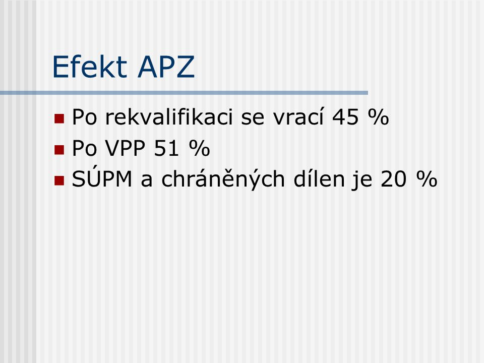 Efekt APZ Po rekvalifikaci se vrací 45 % Po VPP 51 %