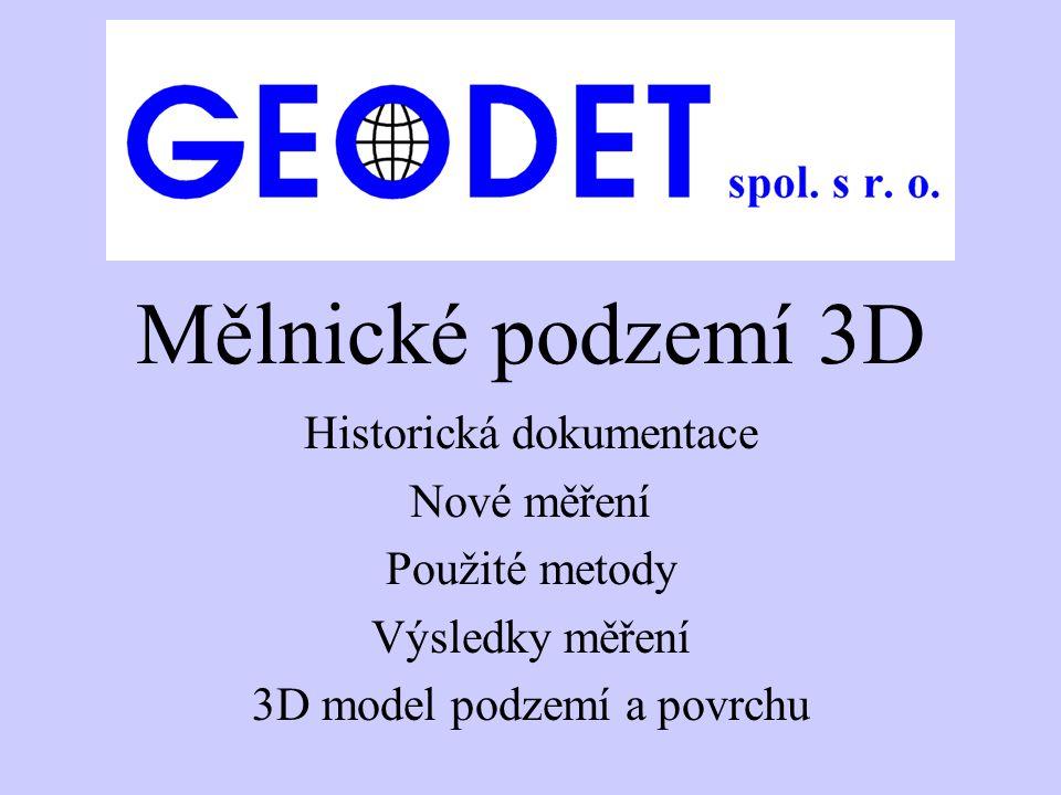 Mělnické podzemí 3D Historická dokumentace Nové měření Použité metody