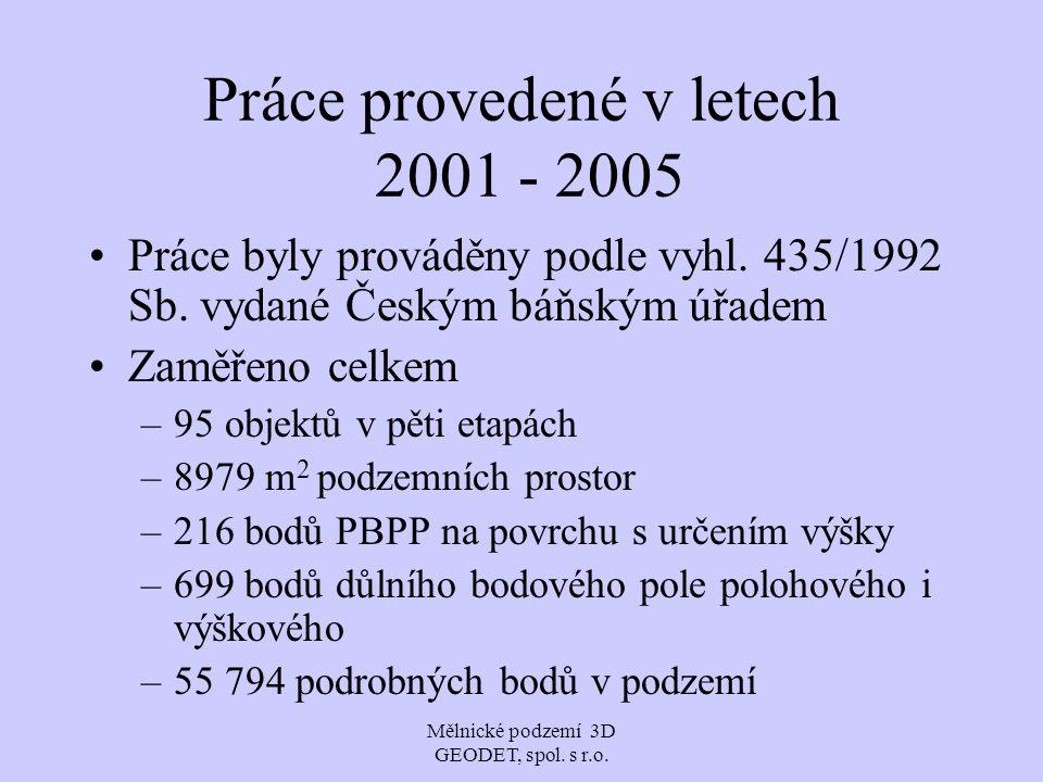 Práce provedené v letech 2001 - 2005