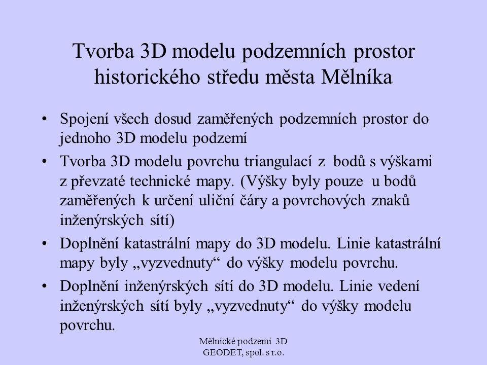 Tvorba 3D modelu podzemních prostor historického středu města Mělníka