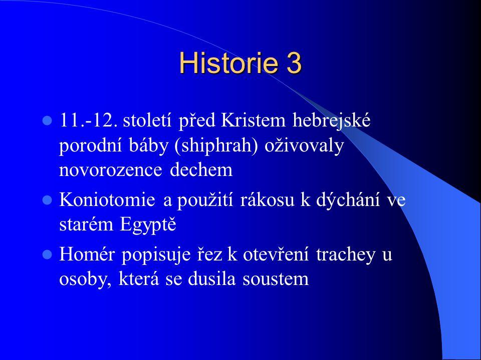 Historie 3 11.-12. století před Kristem hebrejské porodní báby (shiphrah) oživovaly novorozence dechem.