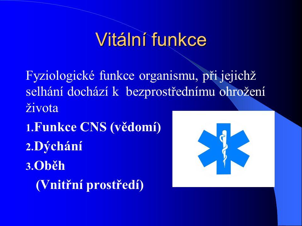 Vitální funkce Fyziologické funkce organismu, při jejichž selhání dochází k bezprostřednímu ohrožení života.