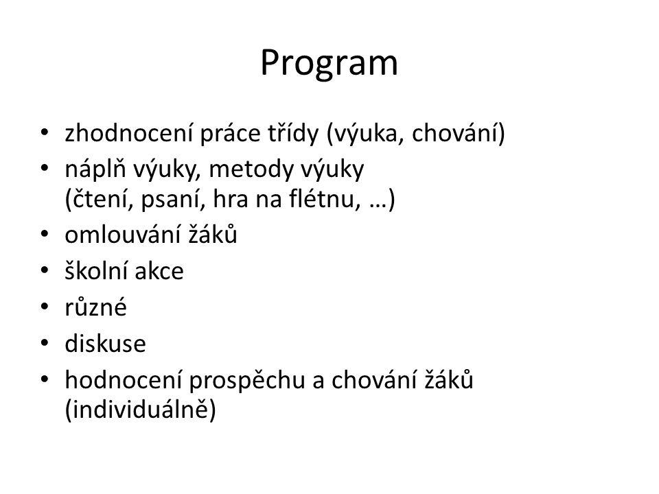 Program zhodnocení práce třídy (výuka, chování)