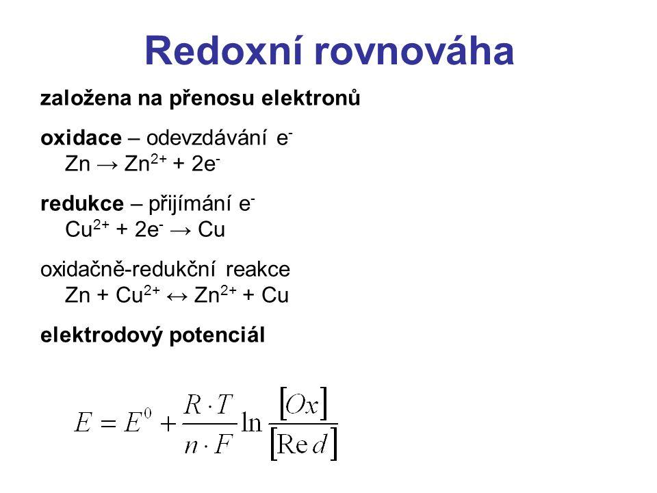 Redoxní rovnováha založena na přenosu elektronů
