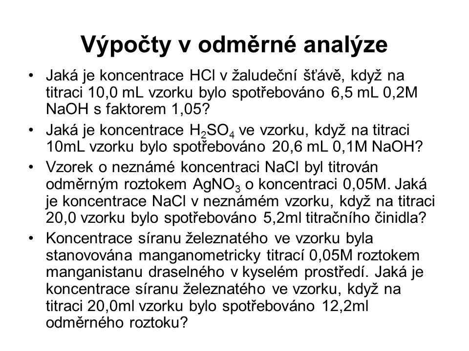 Výpočty v odměrné analýze
