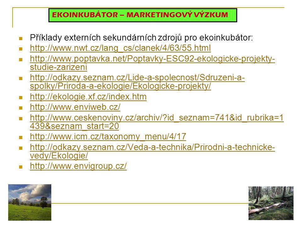 Příklady externích sekundárních zdrojů pro ekoinkubátor: