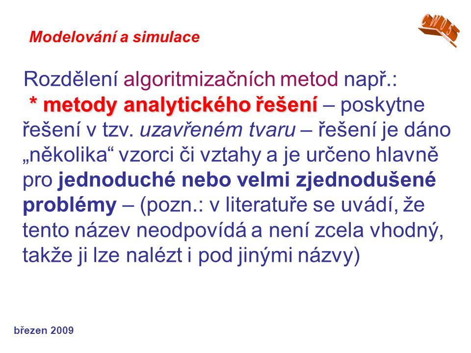 Rozdělení algoritmizačních metod např.: