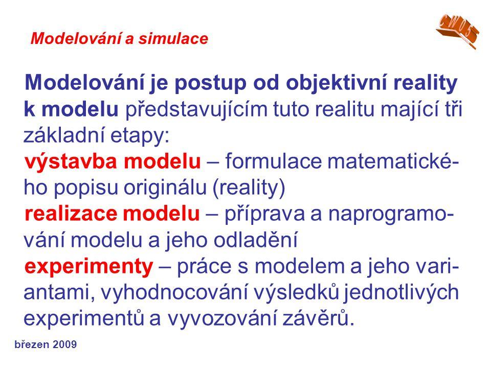 výstavba modelu – formulace matematické-ho popisu originálu (reality)