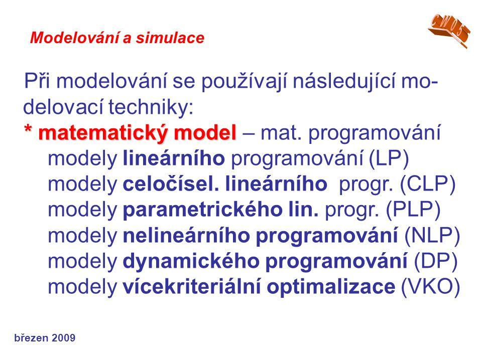 Při modelování se používají následující mo-delovací techniky: