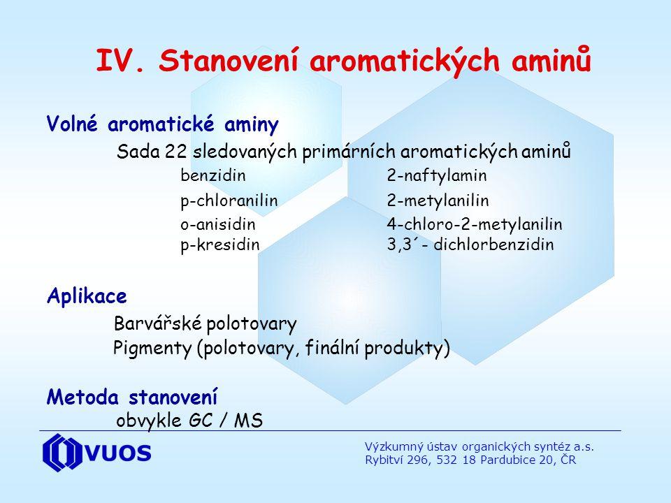 IV. Stanovení aromatických aminů