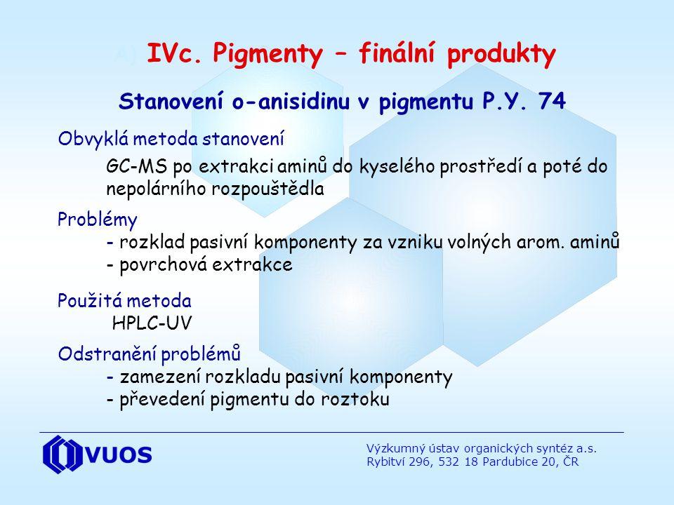 A) IVc. Pigmenty – finální produkty