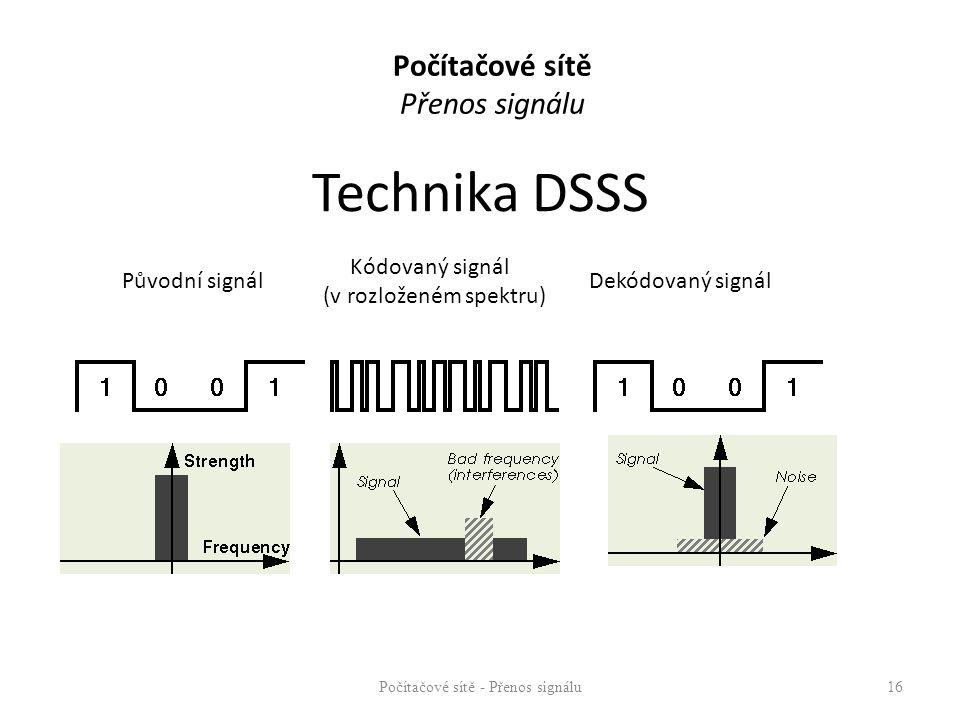 Technika DSSS Direct Sequence : Počítačové sítě Přenos signálu