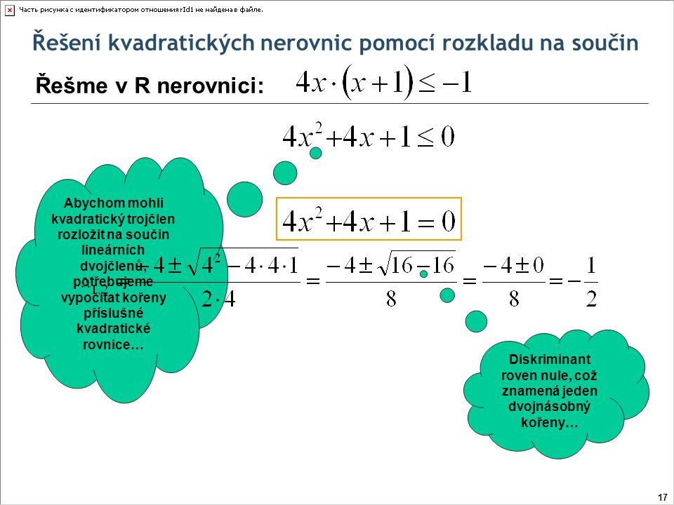 Diskriminant roven nule, což znamená jeden dvojnásobný kořeny…