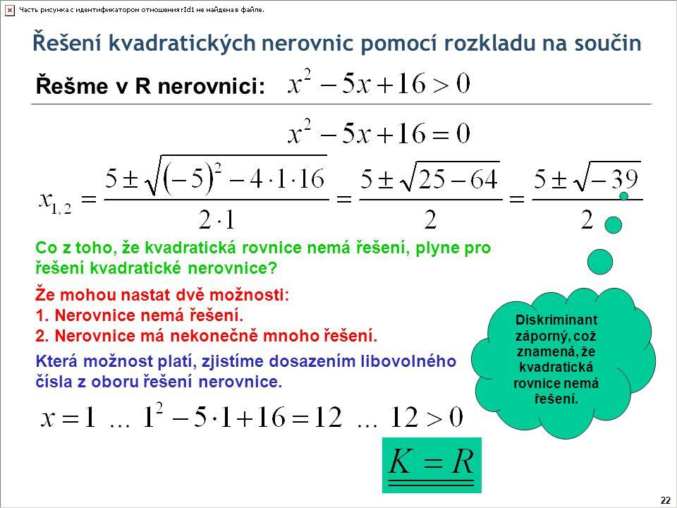 Diskriminant záporný, což znamená, že kvadratická rovnice nemá řešení.