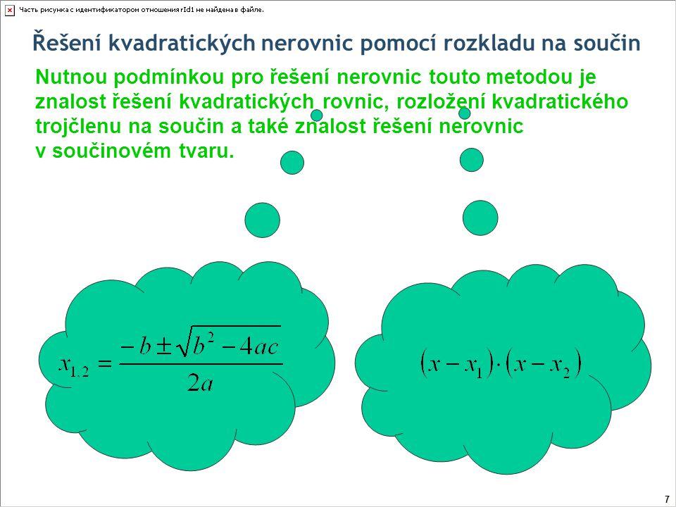 Řešení kvadratických nerovnic pomocí rozkladu na součin