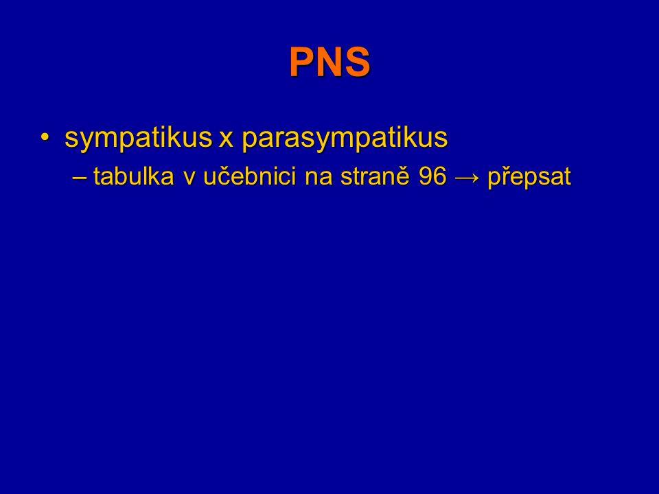 PNS sympatikus x parasympatikus