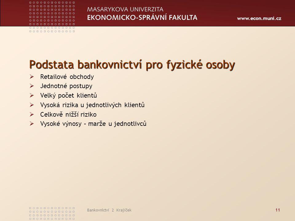 Podstata bankovnictví pro fyzické osoby