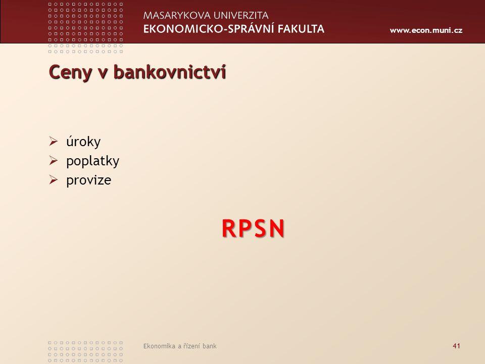 RPSN Ceny v bankovnictví úroky poplatky provize