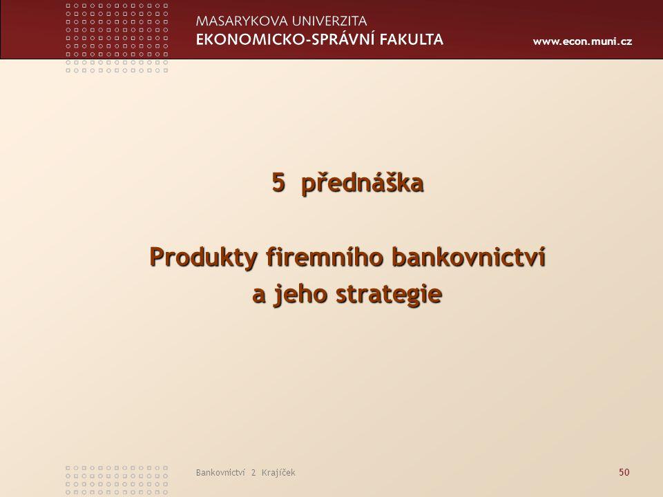 Produkty firemního bankovnictví