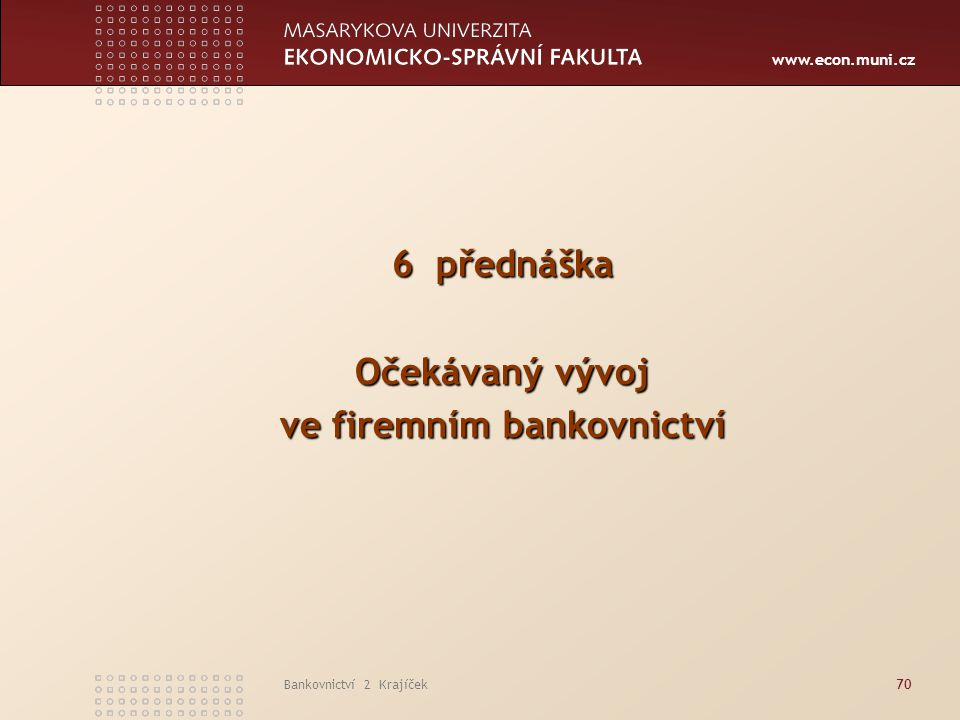 ve firemním bankovnictví