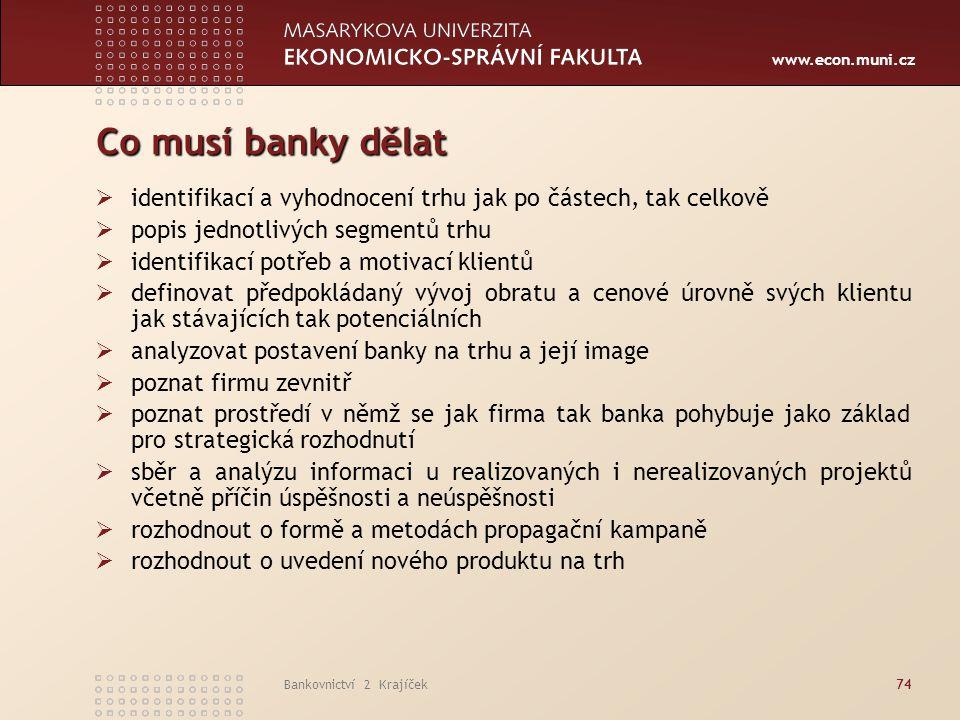Co musí banky dělat identifikací a vyhodnocení trhu jak po částech, tak celkově. popis jednotlivých segmentů trhu.