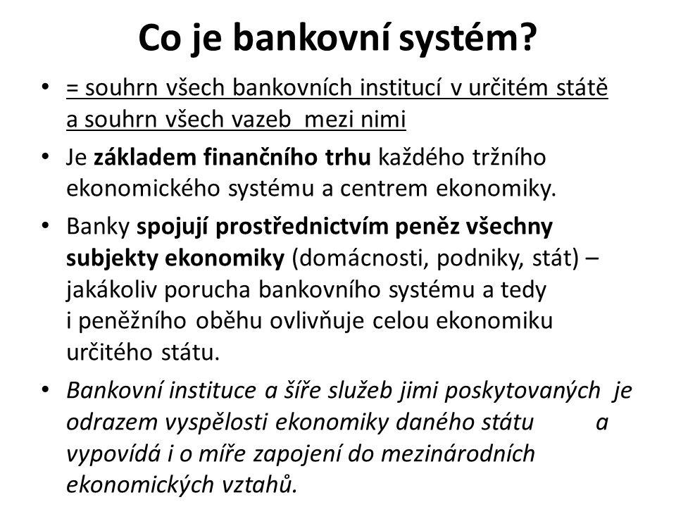Co je bankovní systém = souhrn všech bankovních institucí v určitém státě a souhrn všech vazeb mezi nimi.