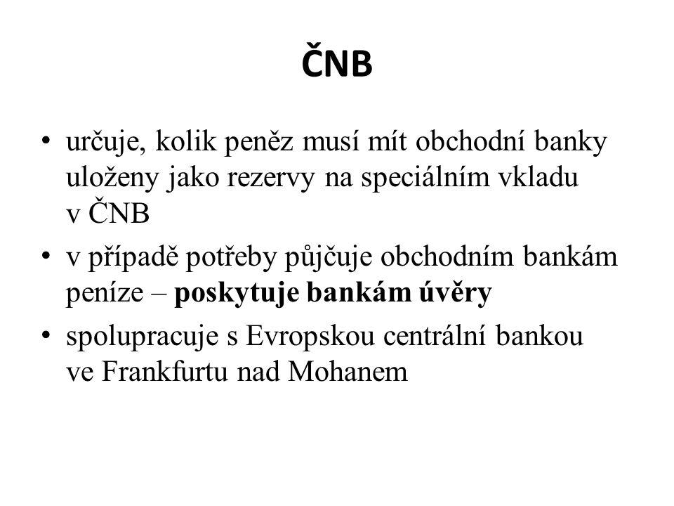 ČNB určuje, kolik peněz musí mít obchodní banky uloženy jako rezervy na speciálním vkladu v ČNB.