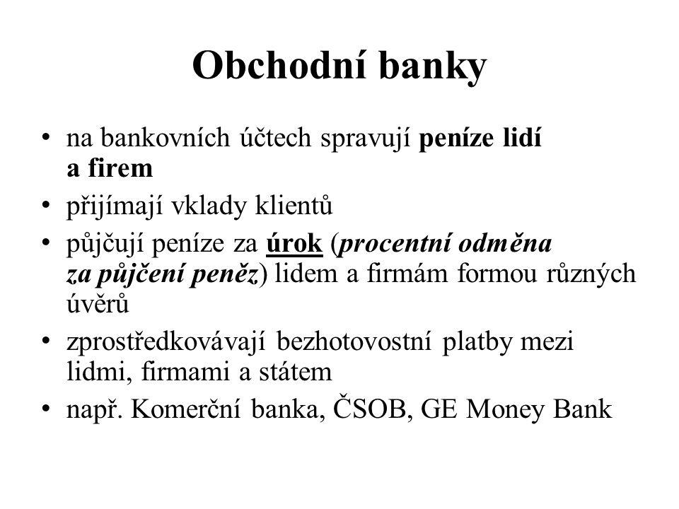 Obchodní banky na bankovních účtech spravují peníze lidí a firem