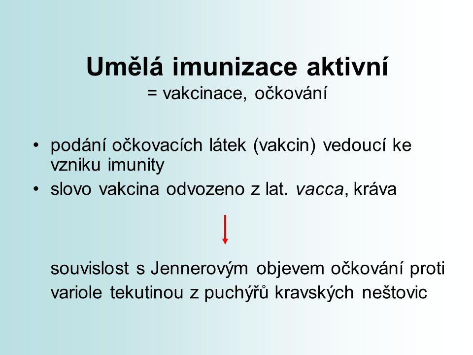 Umělá imunizace aktivní = vakcinace, očkování
