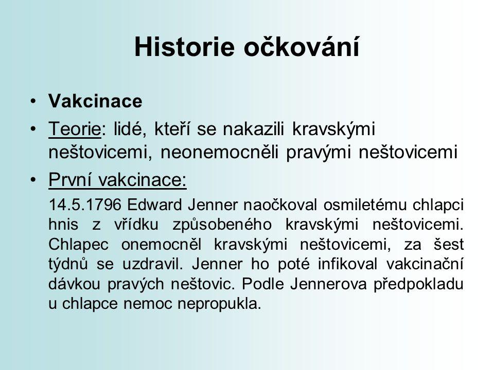 Historie očkování Vakcinace