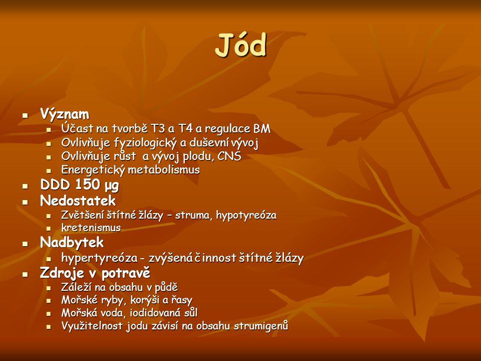 Jód Význam DDD 150 μg Nedostatek Nadbytek Zdroje v potravě