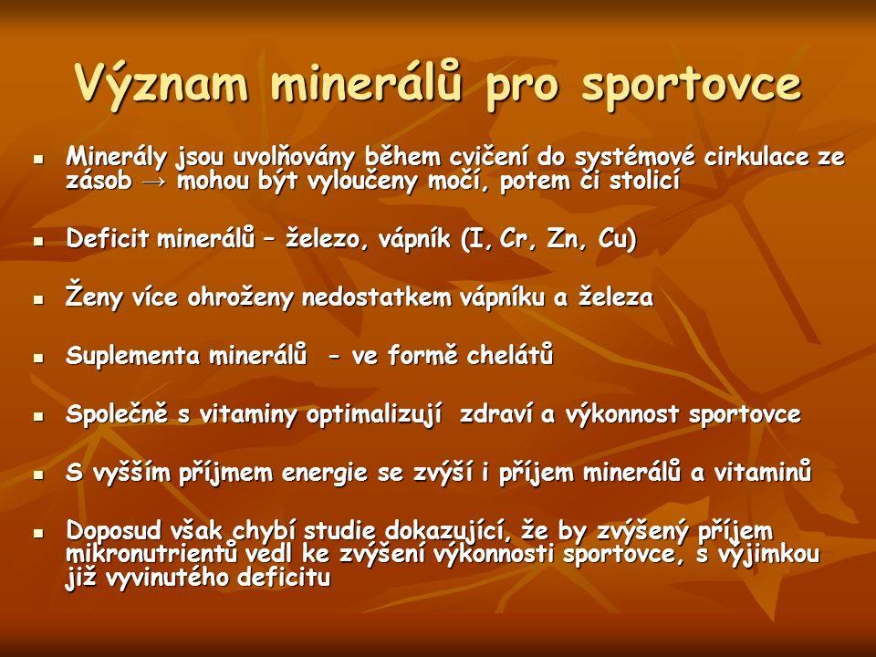 Význam minerálů pro sportovce