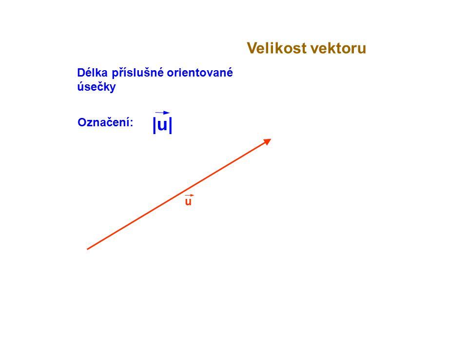 Velikost vektoru Délka příslušné orientované úsečky Označení: |u| u