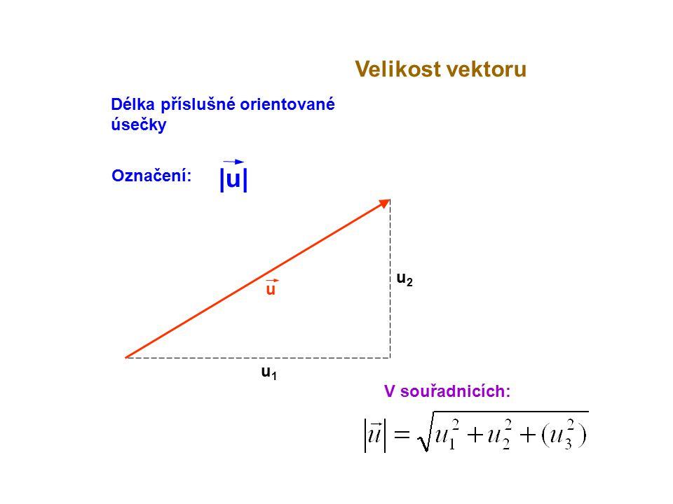 |u| Velikost vektoru Délka příslušné orientované úsečky Označení: u2 u