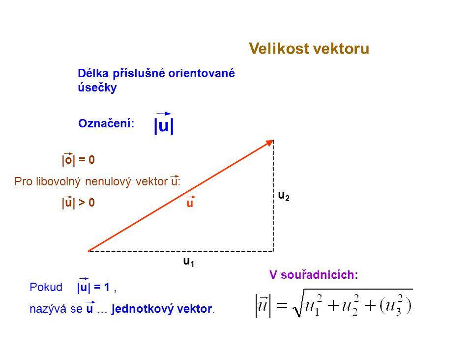 |u| Velikost vektoru Délka příslušné orientované úsečky Označení:
