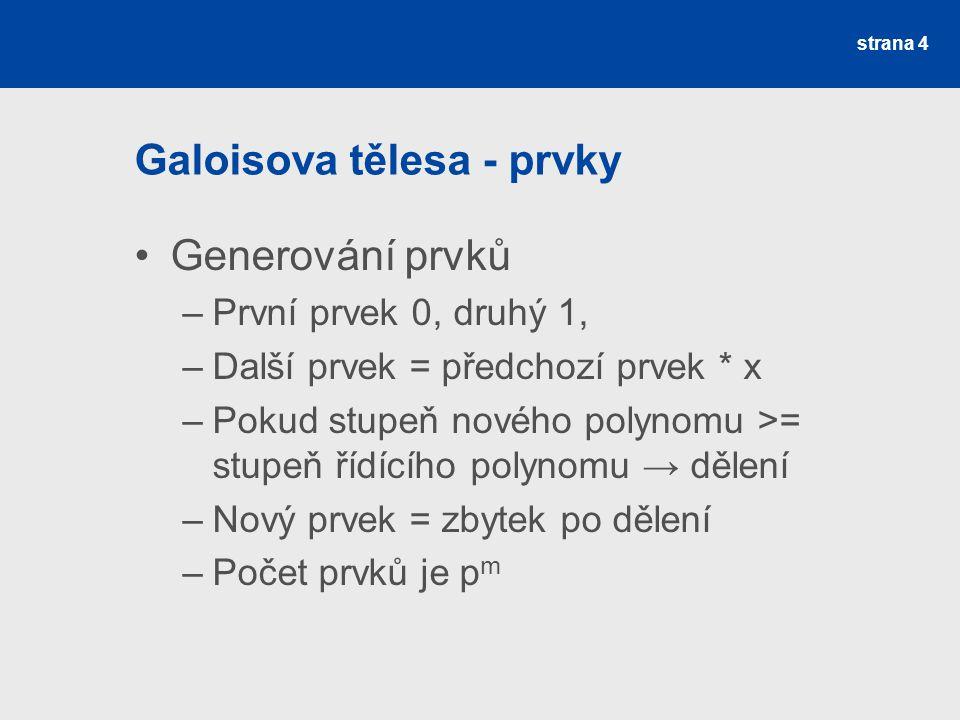 Galoisova tělesa - prvky