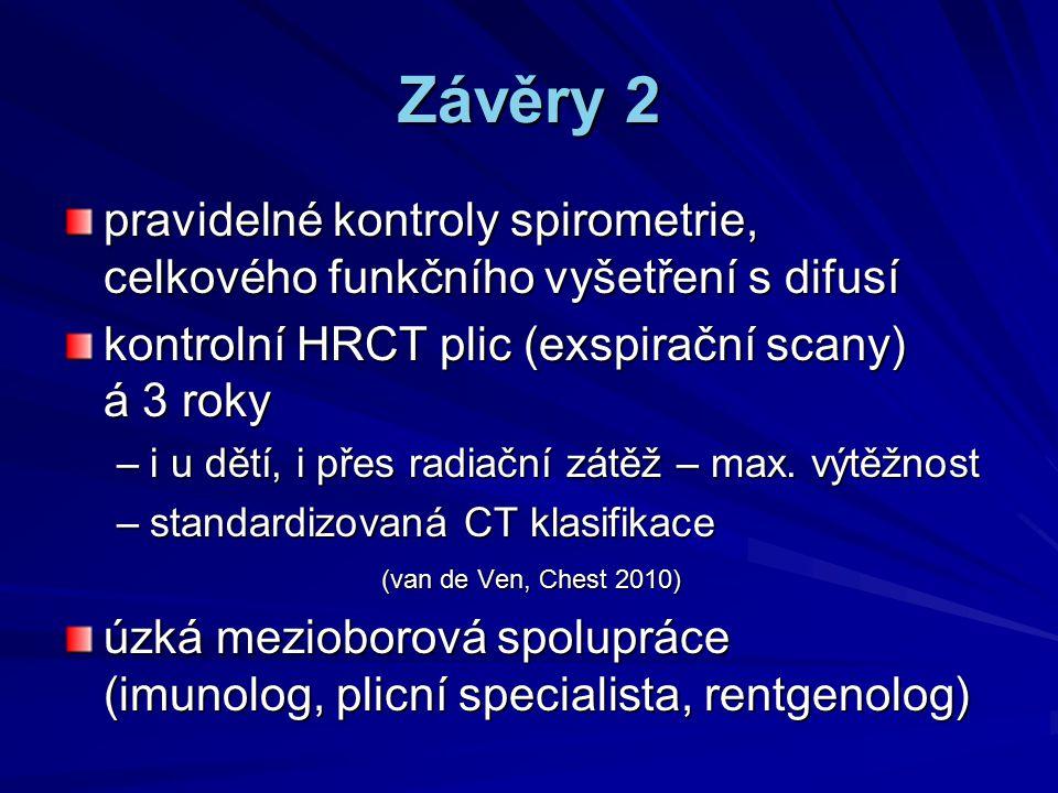 Závěry 2 pravidelné kontroly spirometrie, celkového funkčního vyšetření s difusí.