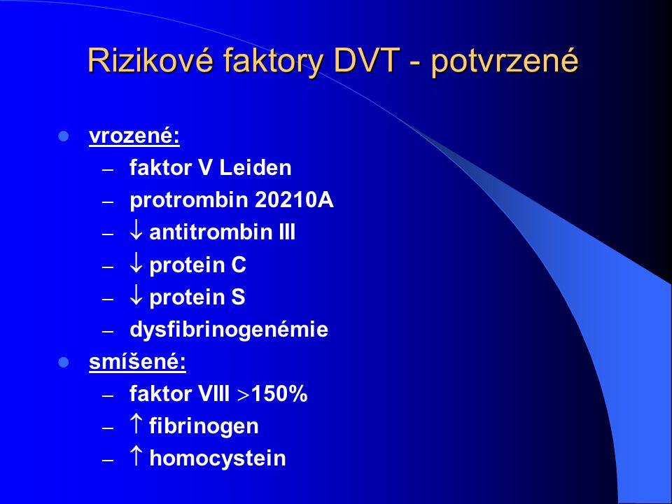 Rizikové faktory DVT - potvrzené