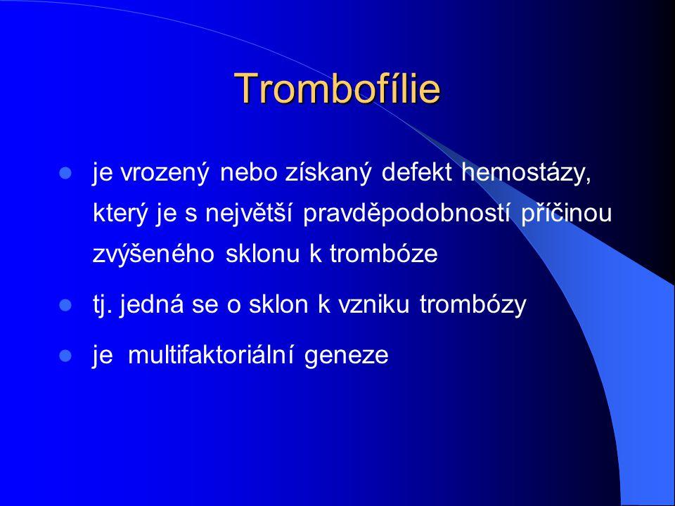 Trombofílie je vrozený nebo získaný defekt hemostázy, který je s největší pravděpodobností příčinou zvýšeného sklonu k trombóze.