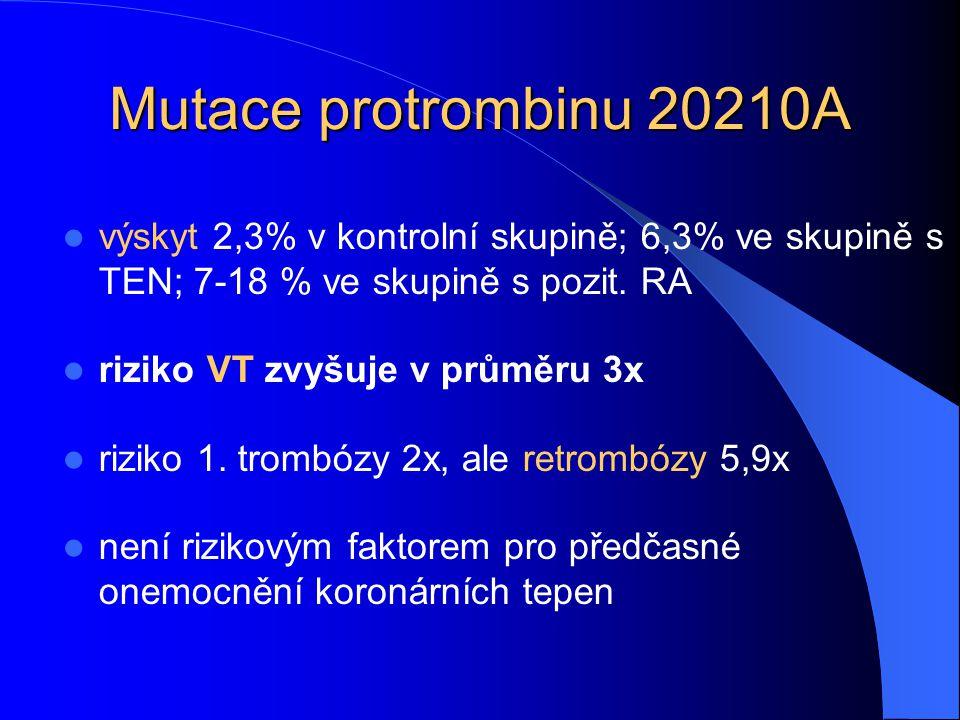 Mutace protrombinu 20210A výskyt 2,3% v kontrolní skupině; 6,3% ve skupině s TEN; 7-18 % ve skupině s pozit. RA.