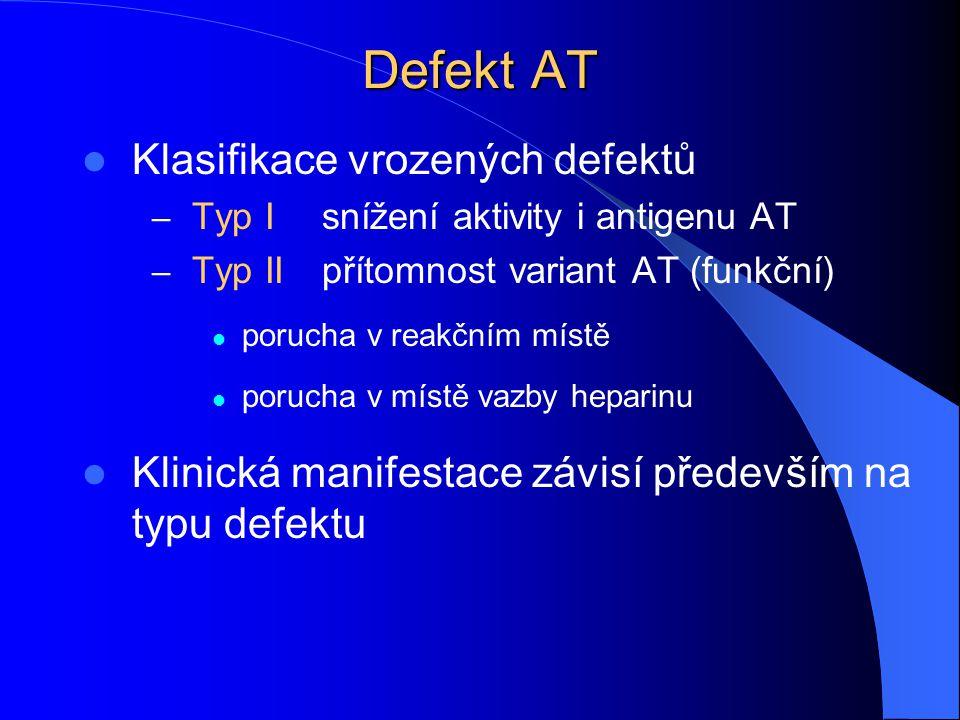 Defekt AT Klasifikace vrozených defektů